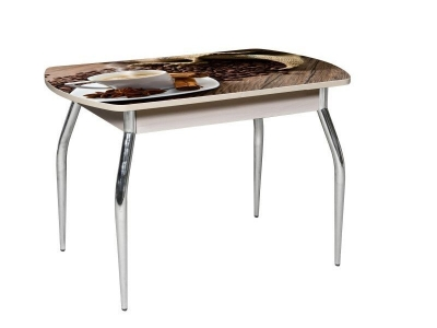Стол раздвижной со стеклом Грация Кофе-Беленный дуб