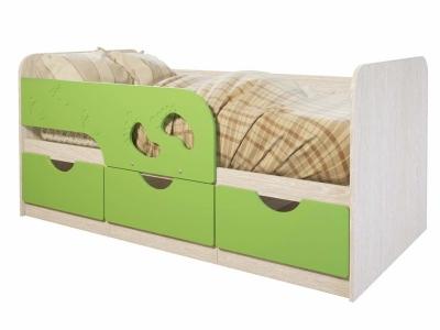 Детская кровать Минима Лего дуб атланта/лайм глянец