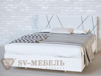 Кровать двойная №1 Абстракция/Ясень Анкор светлый/Сантекс бежевый