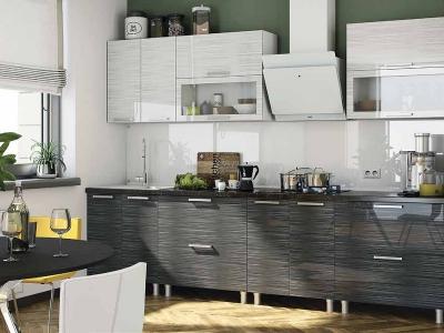 Кухня Титан черный-белый