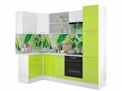 Кухонный гарнитур угловой Люкс лайм-белый