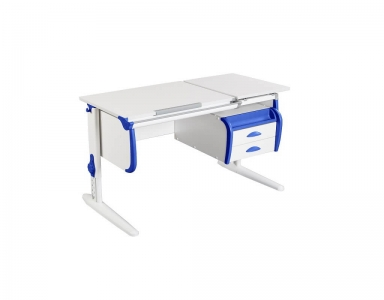 Парта СУТ-25-03 White синяя с навесной тумбой