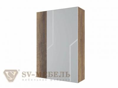 Шкаф с зеркалом навесной Визит 1 550х800х174 Дуб Каньон/МДФ серый